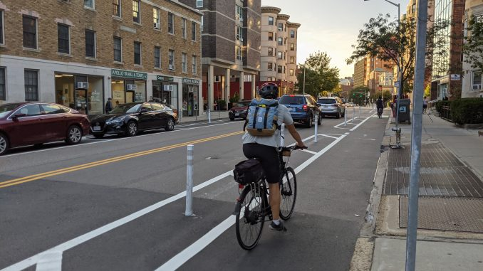 A person riding a bike in a curbside bike lane, separate from the general traffic lane by a painted buffer and plastic flexpost.